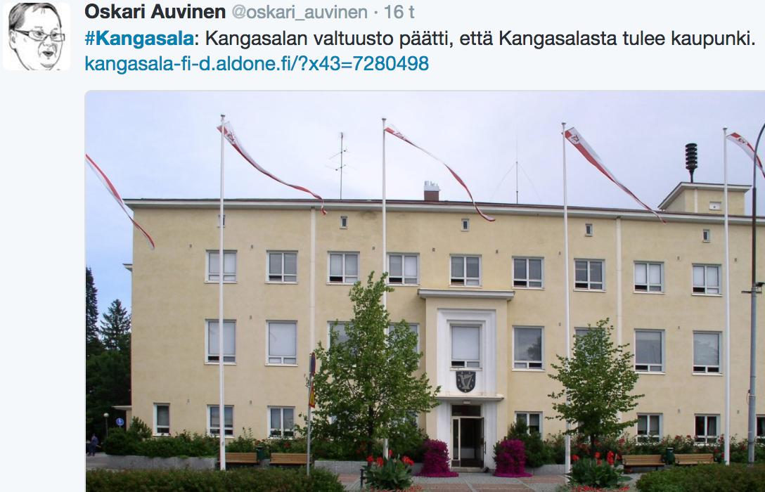 Kunnanjohtaja Oskari Auvinen tiedotti kaupunki-päätöksestä tuoreeltaan Twitterissä.