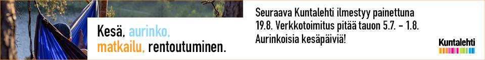 Banneri: Kuntalehden toimitus lomailee 5.7. - 1.8.
