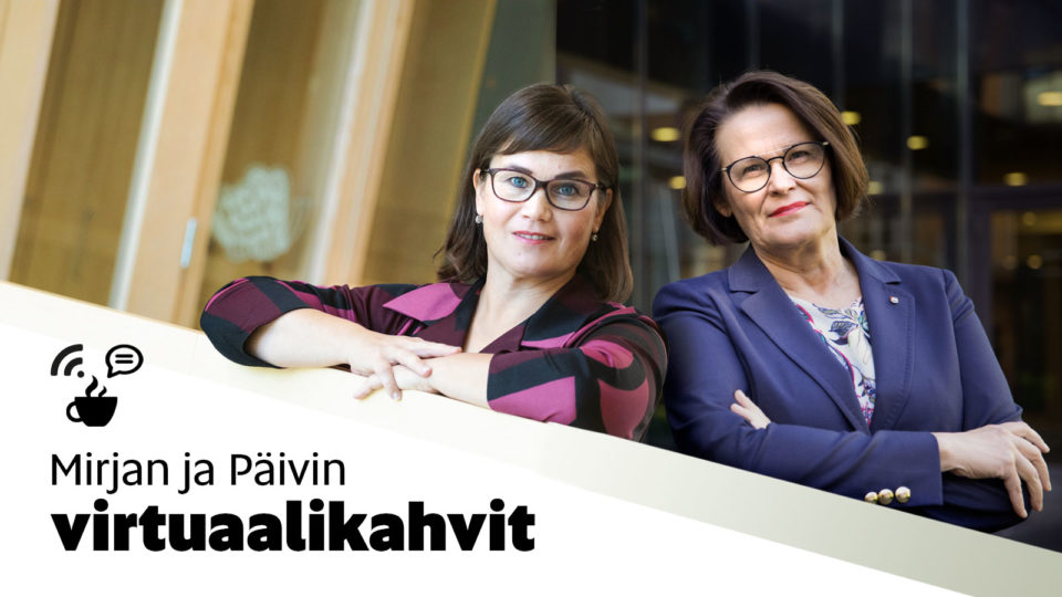 Mirja Vehkaperä ja Päivi Laajala aikovat jatkaa virtuaalitapahtumia. Kuva Oulun kaupunki
