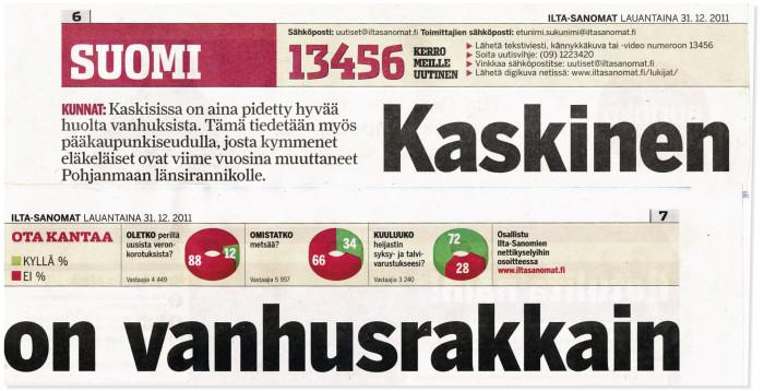 Helsingin Sanomien Kuukausiliitteen kuntavertailun klassikon onnellisin kaupunki Uusikaarlepyy ja onnettomin Pietarsaari saivat kantaa näitä mielikuvia pitkään (5.1.1995). Isojoki oli vanhusten paratiisi (Ilta-Sanomat 24.1.2011). Vuotta myöhemmin Kaskinen oli vanhusrakkain (I-S 31.12.2011)