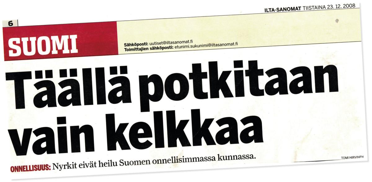 Ilta-Sanomat on koonnut vuosittain tilastoja eri aiheista ja laskenut niistä muodostetut pisteet yhteen ja saanut kunnat järjestykseen. Vuonna 2008 kaikkiaan 413 onnellisimman kunnan listan kärjessä oli Ahvenanmaan Luoto. Onnettomin oli Kouvola. (I-S 23.1.2008)