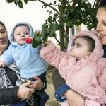 Maria Santos auttaa tytärtään Ana Catarina Santosia kaksosten hoidossa.